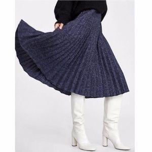 Zara Blue Tweed Pleated Midi Skirt